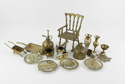 18 Assorted Vintage DECORATIVE BRASS Inc. Vases, Engraved, Rocking Chair (4627g)