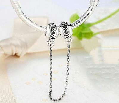 New Authentic Genuine Pandora Charm Charms Love Connection Safety Chain s925 ALE