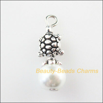 5 New Animal Tortoise Charms White Glass Beads Pendants Tibetan Silver 8x23mm