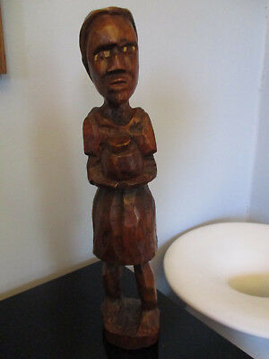 African Primitive Hand Carved Woman With Pot Wood Sculpture Tribal Art Statue!