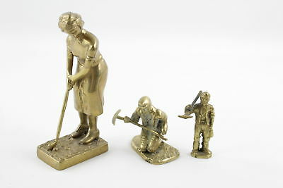 3 x Assorted Vintage Decorative BRASS Figurines Inc. Golfer, Minors (2026g)
