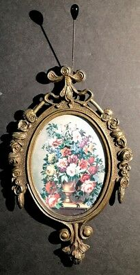 """Single Vintage Small Ornate Oval Brass Picture Frame Flowers  Made in Italy 6"""""""