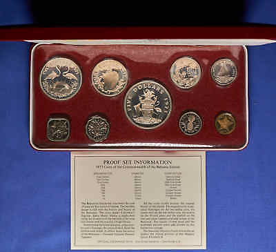1973 Bahama's Proof Set. 9 Coins w/Silver in Presentation Box w/C.O.A.