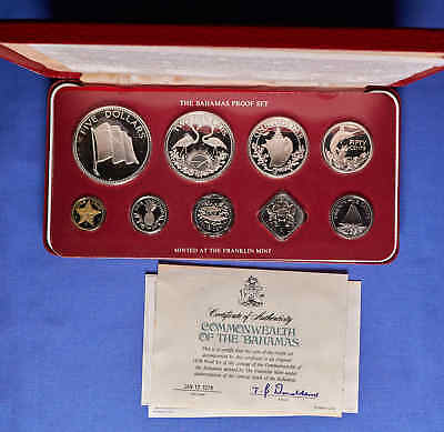 1978 Bahama's Proof Set. 9 Coins w/ Silver in Presentation Box & COA
