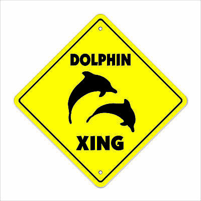 """Dolphin Crossing Decal Zone Xing 8"""" new miami collector flipper porpoise sea"""
