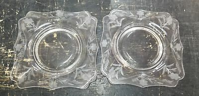 11 Vintage Square Clear Etched Glass Dessert Plates