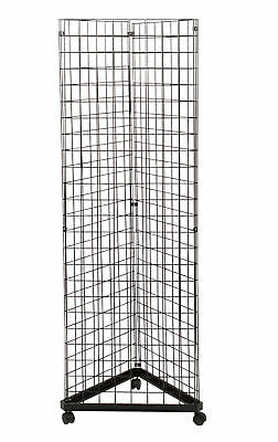Wire Grid Triangle Tower Display Rack Casters Rolling Casters Black 2' x 6 ½' H