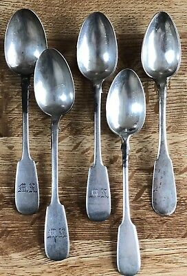 Lot Of 5 1800s Imperial Antique Russian Silver 875 Soviet Spoons Not Scrap 127g