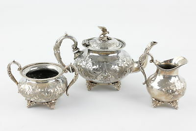 3 Piece John Turton Silver Plate Tea Set Hand Chased With Eagle Finial (1706g)