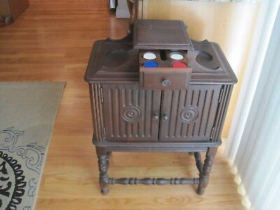 Antique/Vintage Wood Humidor with Poker Chip Drawer - Smoking Stand