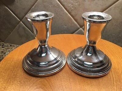 Two Vintage Sterling Silver Candle Sticks Holders for Tall Tapers