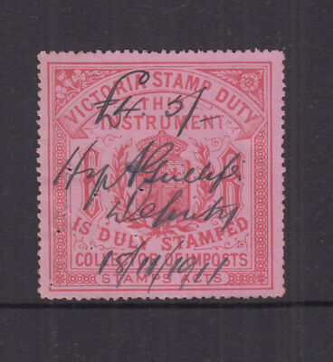 Victoria 1902 (-) Red on Pink COLLECTOR OF IMPOSTS-Revenue-Elsmore Cat $100 FU