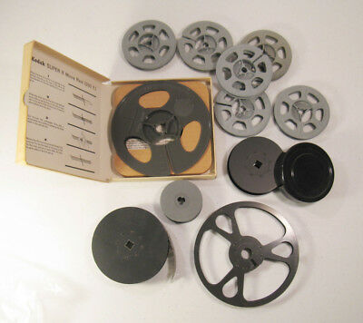 Lot of 10 Movie Camera Reels/Spools & 1 With Film (AS IS)