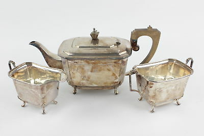 3 Piece British Sheffield Silver Plated Teaset Inc. Teapot, Milk Jug, Sugar Bowl