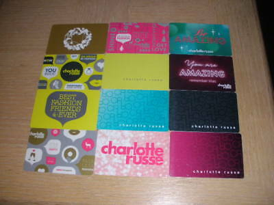 Charlotte Russe    12 different new collectible gift cards
