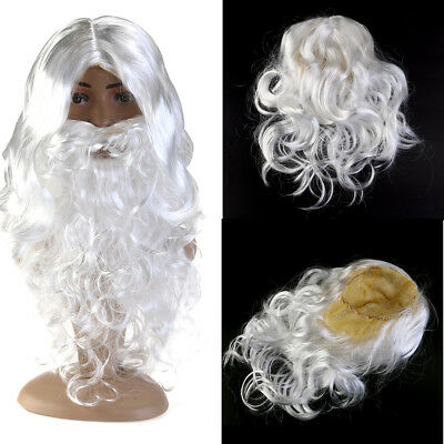 Santa Claus Father Costume kit Christmas White Wig and Beard Wizard Fancy Dress