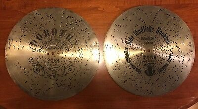 "2- Music Box Polyphon Discs 11 "" Dorothy Queen Of My Heart & Country Wedding"