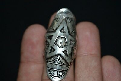 Ancient Roman bronze Silver engraved ring displayed a star - ** PENTAGRAM **
