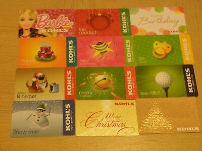 Kohl's   12 different new collectible gift cards