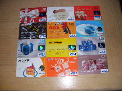 Charge gift cards   12 different new  and used collectible gift cards