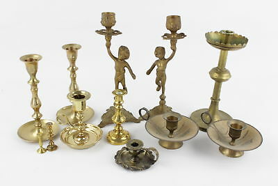 12 x Vintage BRASS Candlesticks & Holders Inc. Matching Pairs, Ornate (2692g)