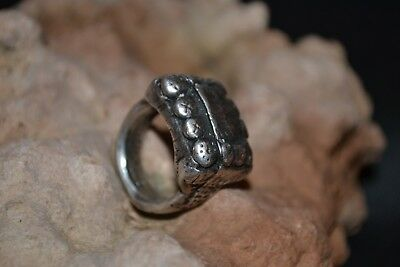 LOW OUTBID !! Ancient Viking Era - Nordic SILVER Ring With viking sybmol