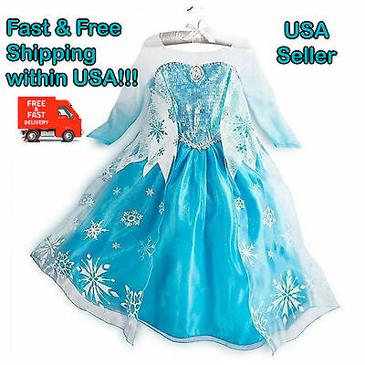 Frozen Queen Elsa Princess Girls Party Costume Dress for Halloween Cosplay