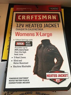CRAFTSMAN NEXTEC WOMENS HEATED XL Coat Jacket W/ BATTERY, ADAPTER & Charger NEW