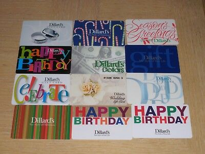 Dillard's   12 different new collectible gift cards