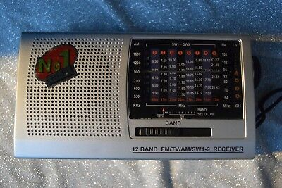 12 Band Portable Radio FM/TV/AM/SW1-9 Receiver No 1 Hi-Fi