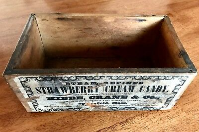 Antique Dovetailed Wooden Box with Advertising Label Strawberry Cream Candy Mass