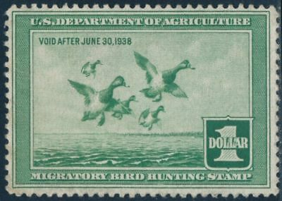 US SCOTT#RW4 UNUSED 1937 Duck stamp, clean and sound
