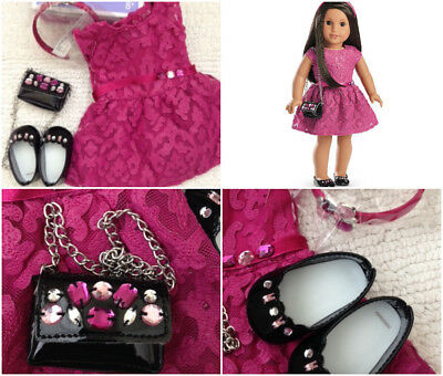 American Girl MERRY MAGENTA DRESS Outfit~Purse~Shoes~Christmas Holiday~Jewel