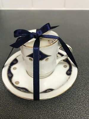 Pretty White, Blue & Gold Saucer Teacup Scented candle, Handmade In Vintage Cup