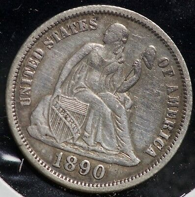 1890 Seated Liberty Silver One Dime 10C Coin