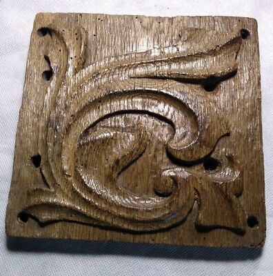 Fine Rare Medieval 15th Century English Carved Oak Aumbry Panel c1450
