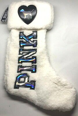 1d2b4ed4db NWT Victoria s Secret PINK Christmas Stocking White Sherpa LIMITED EDITION