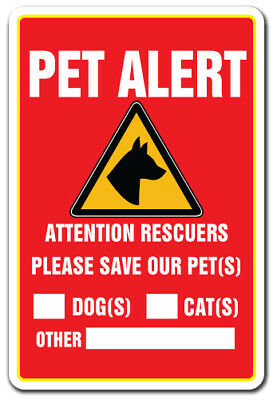 """PET ALERT Decal save our pets rescue fire firefighter police rescue dogs cats 9"""""""