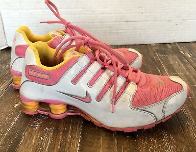 783df95eb3a Nike Shox NZ Pink White Yellow Running Shoe 310480 600 Women s US 7 Youth 6  UK