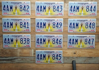 Lot of 10 Mississippi Lighthouse License Plates ~ 4AM 843, 4AM 842 etc...