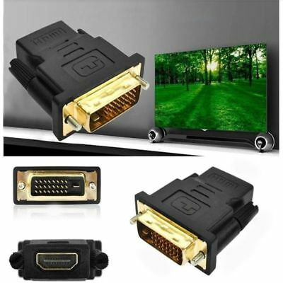 DVI-D Dual Link 24+1 Male to HDMI Female Audio Video Adapter Black Connector