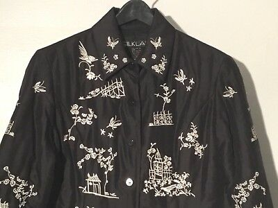 Womens Silkland Black & White Embroidered Quilted Jacket Small 100% Silk