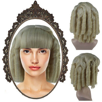 White Long Curly Wig Historical Colonial Lady Cosplay Party Fancy Dress HW-3348