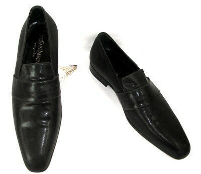 YVES SAINT LAURENT - Slipper coated fabric and leather black 42.5 - MINT