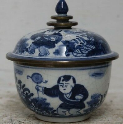 Very Interesting Old Chinese Bowl & Cover Metal Rims - Signed On Base -Very Rare