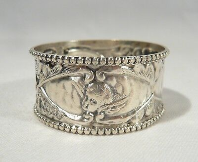 RARE Antique 1907 Sterling Silver Boots Drug Co. Winged Cherub Heads NAPKIN RING