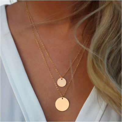 Fashion Jewelry Women Multi-layer Crystal Pendant Clavicle Choker Necklace Chain