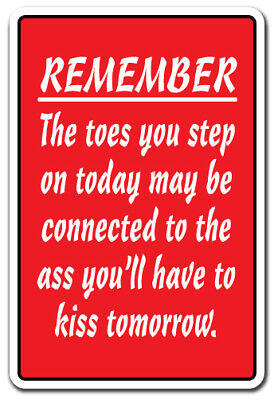 REMEMBER THE TOES YOU STEP ON MAY BE CONNECTED TO THE ASS YOU KISS Decal  5""
