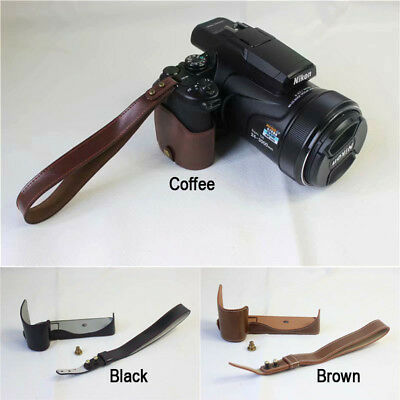 Leather Camera Half case Bag Grip with strap for Nikon Coolpix P1000
