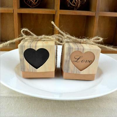Newest 10X Kraft Paper Candy Box Wedding Party Heart Shaped Sweets Gift Box LIN